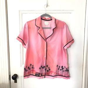 Kate Spade Pink LA Skyline Sleep Shirt Pajama Top